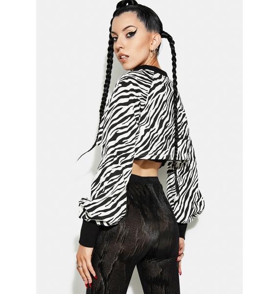 Punk Rave Zebra Print Double Zipper Cardigan