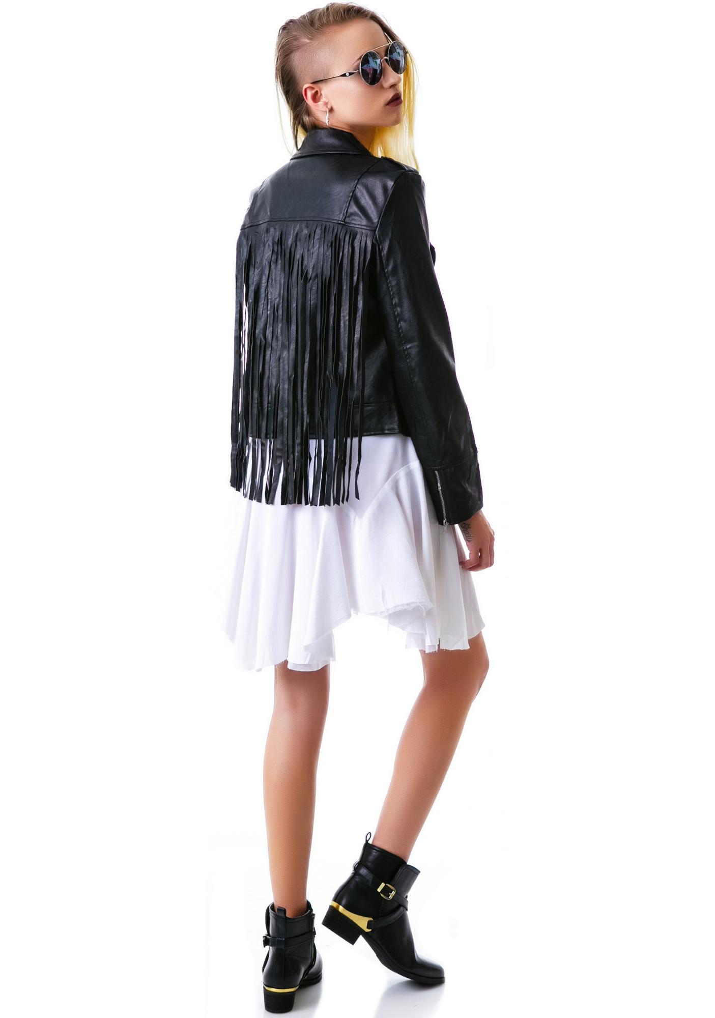 Free At Heart Fringe Moto Jacket