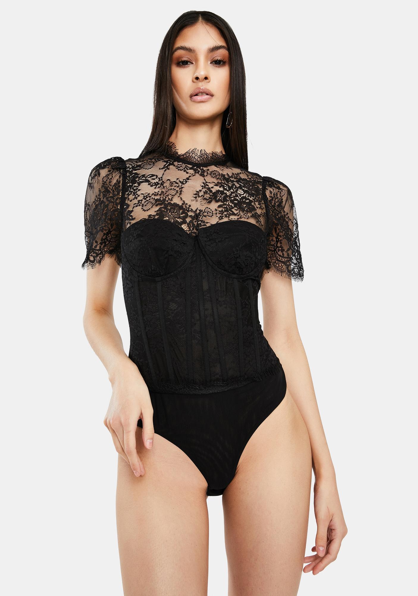 ASTR THE LABEL Lacie Bustier Lace Bodysuit