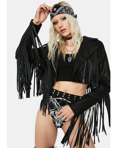 Shaking Fringe Faux Leather Jacket