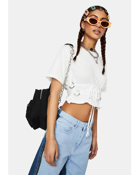 Connect Lace-Up Crop Tee