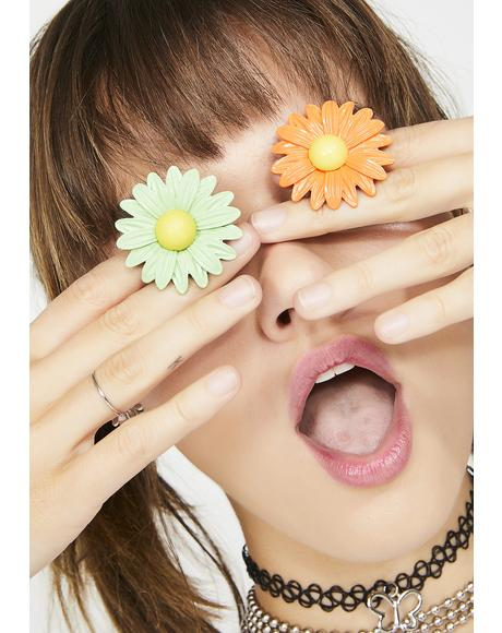 Mint Dainty Daisy Ring