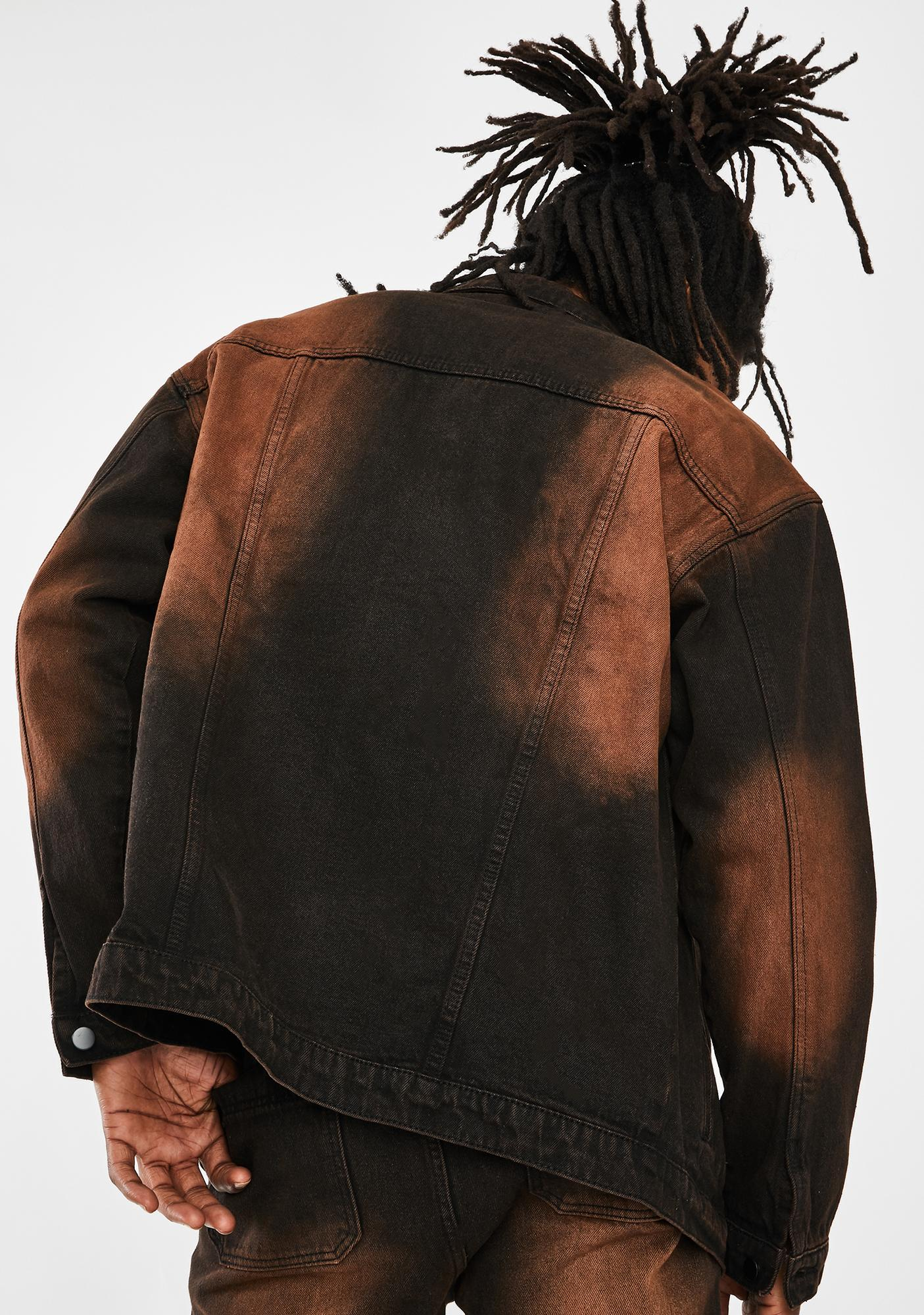 Jaded London Brown Faded Wash Denim Jacket