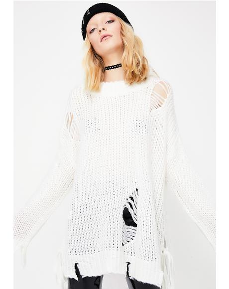 Pure Stressed Out Distressed Sweater