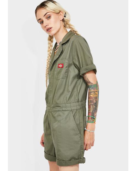 Cuffed Short Sleeve Shortalls
