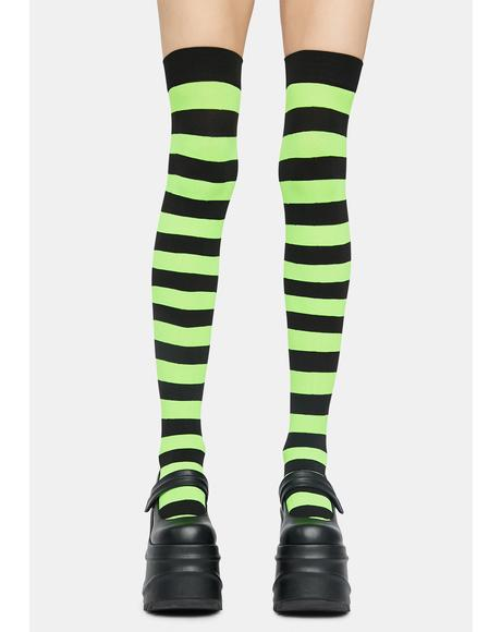Slime Make U Pay Striped Thigh Highs