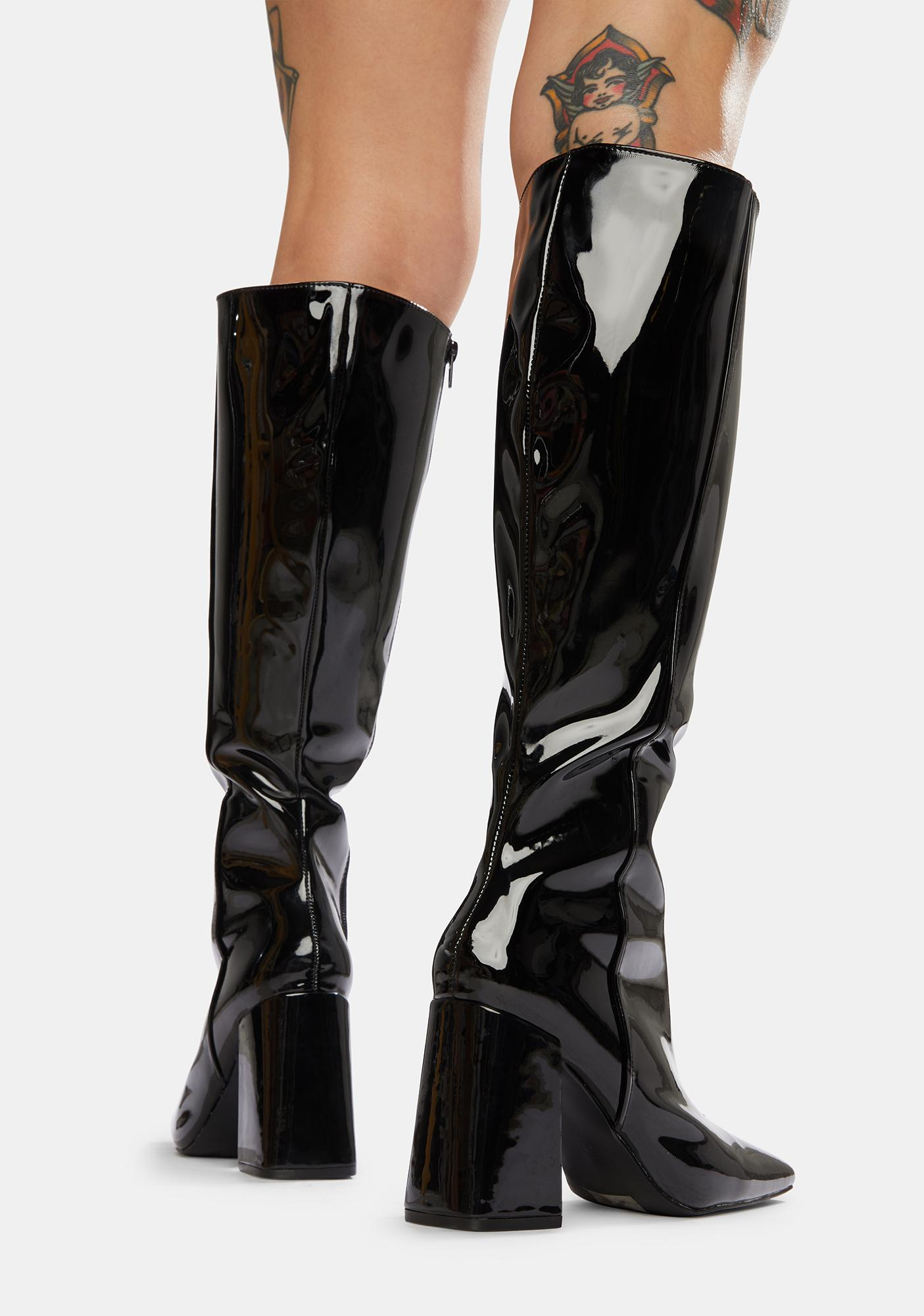 Public Desire Black Apology Patent Knee High Boots