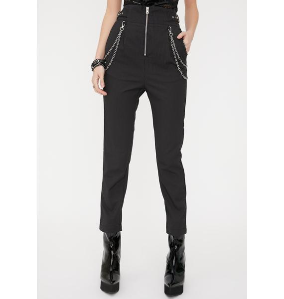 Disturbia Wolfe Chain Pinstripe Trousers