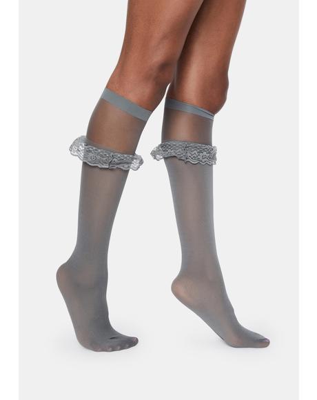 Gray Ruffleina Anklet Sock