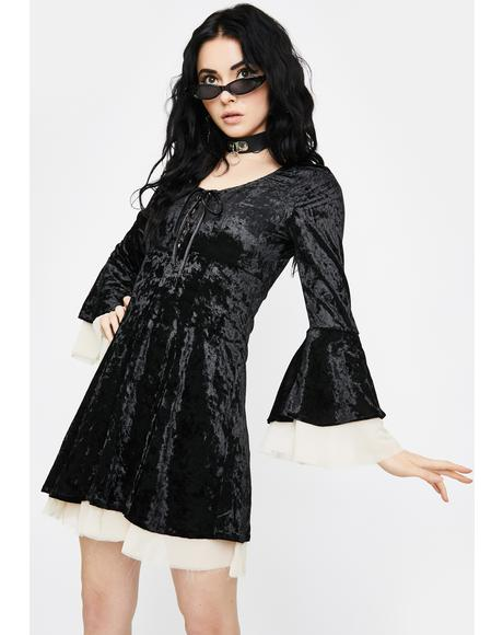 Ivory Tempting Enchantress Velvet Dress