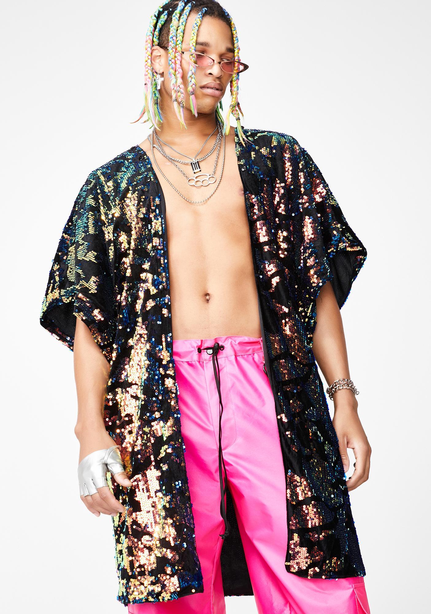 Kuccia Stardust Sequin Unisex Kimono