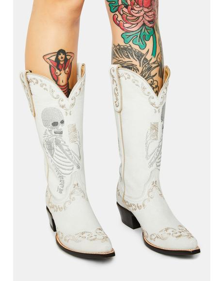 White Selfie Cowboy Boots
