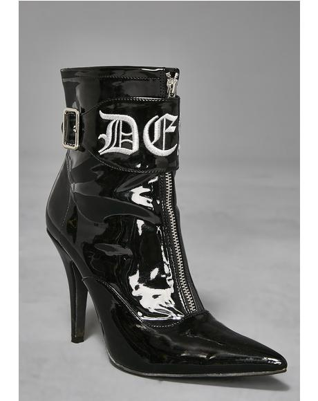 Death Rock Patent Booties
