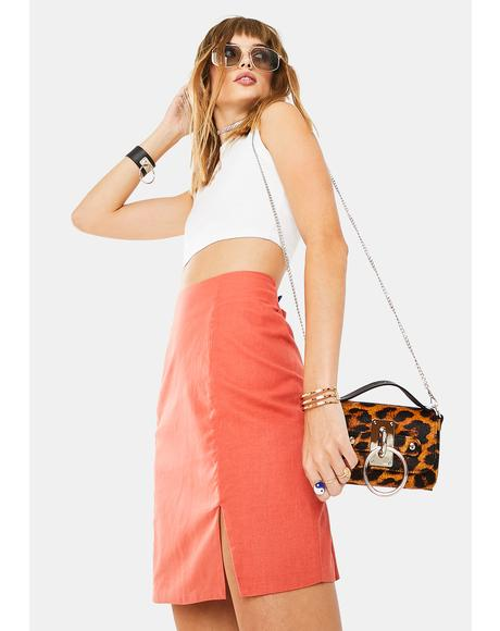 Orange Rust Mini Skirt