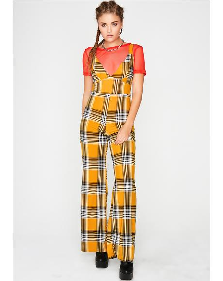 Rude Attitude Plaid Jumpsuit