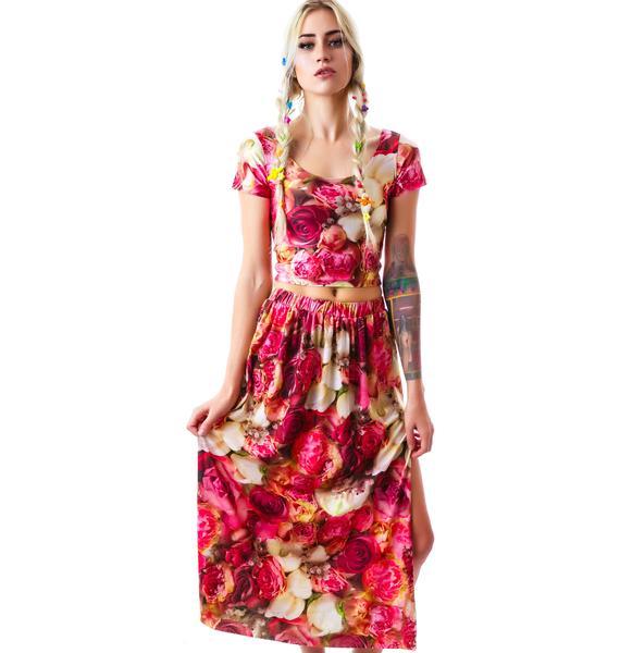Zara Terez Pink Flower Patch Maxi Skirt