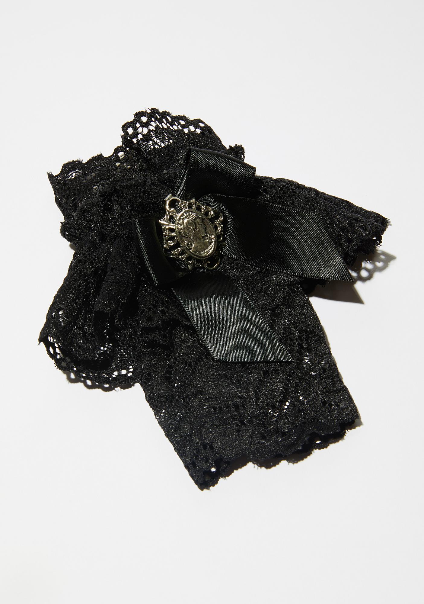 Widow Deep Winter Satin Bow Lace Gloves