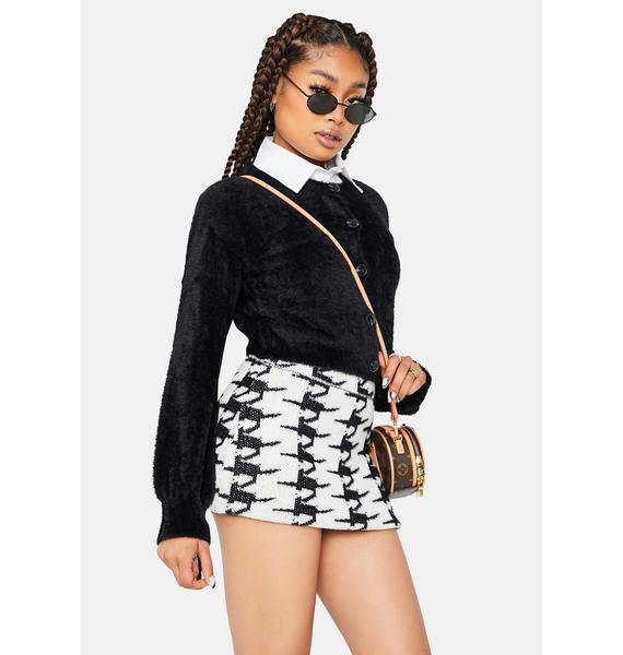 Wicked Class Act Cardigan And Houndstooth Skirt Set
