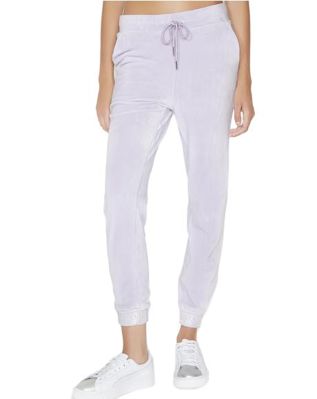 Lilac Velour Skinny Joggers