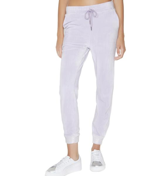 Shade London Lilac Velour Skinny Joggers