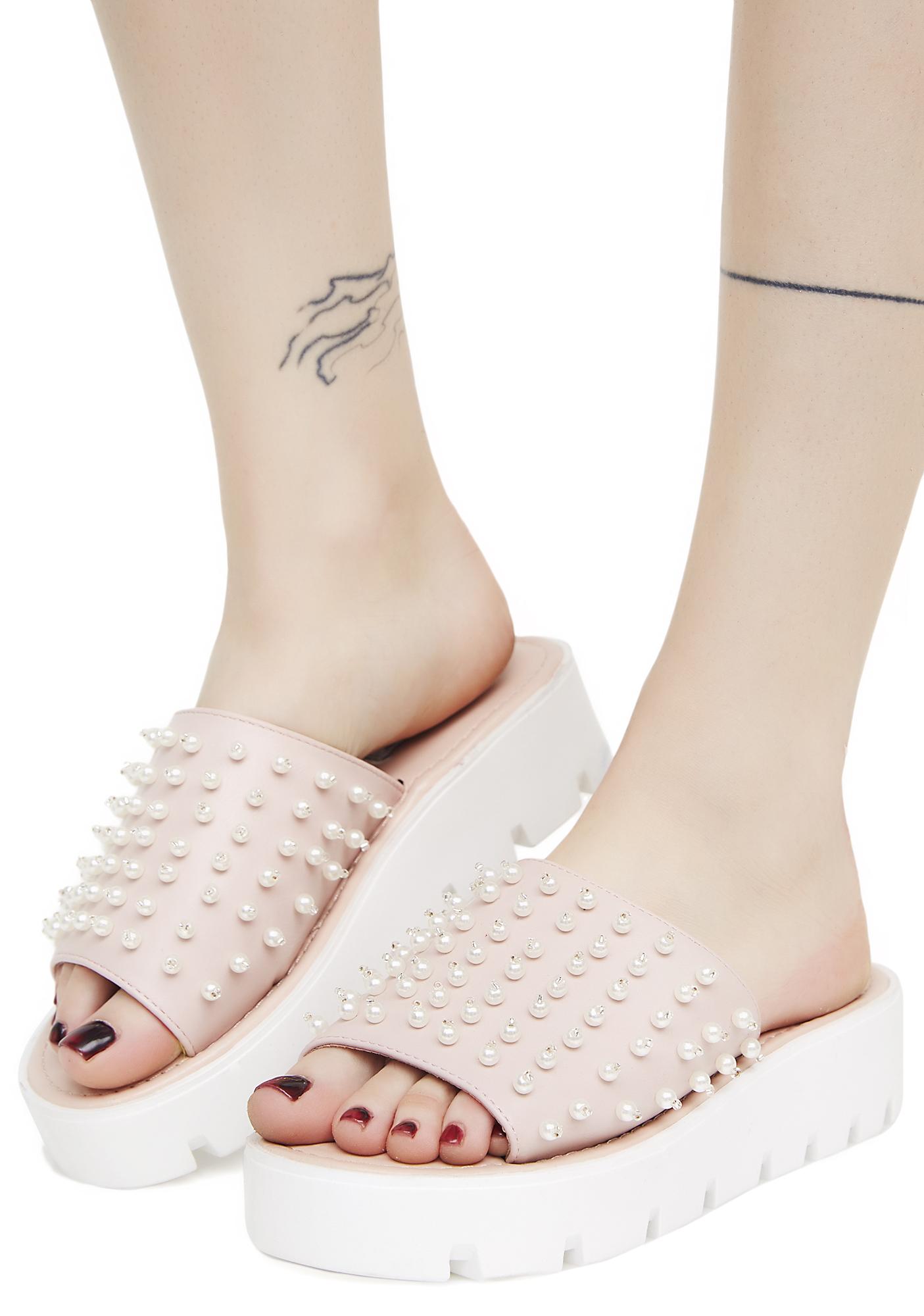 Pink Beaded Platform Slide Sandals