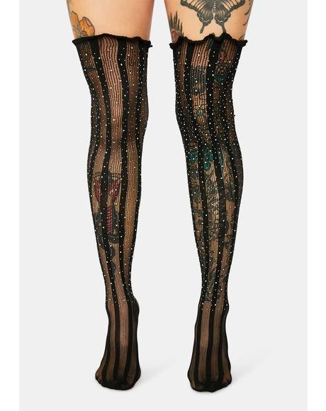 The Party Starts Glitter Thigh High Socks