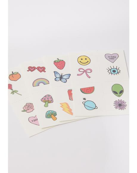 Retro Littles Temporary Tattoo Pack