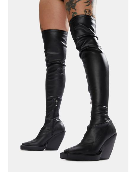 Black Nix Thigh High Platform Wedge Boots