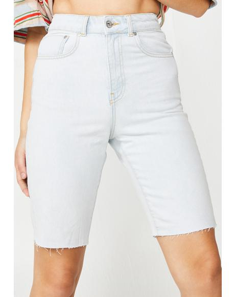 Stone Wash Mom Denim Short