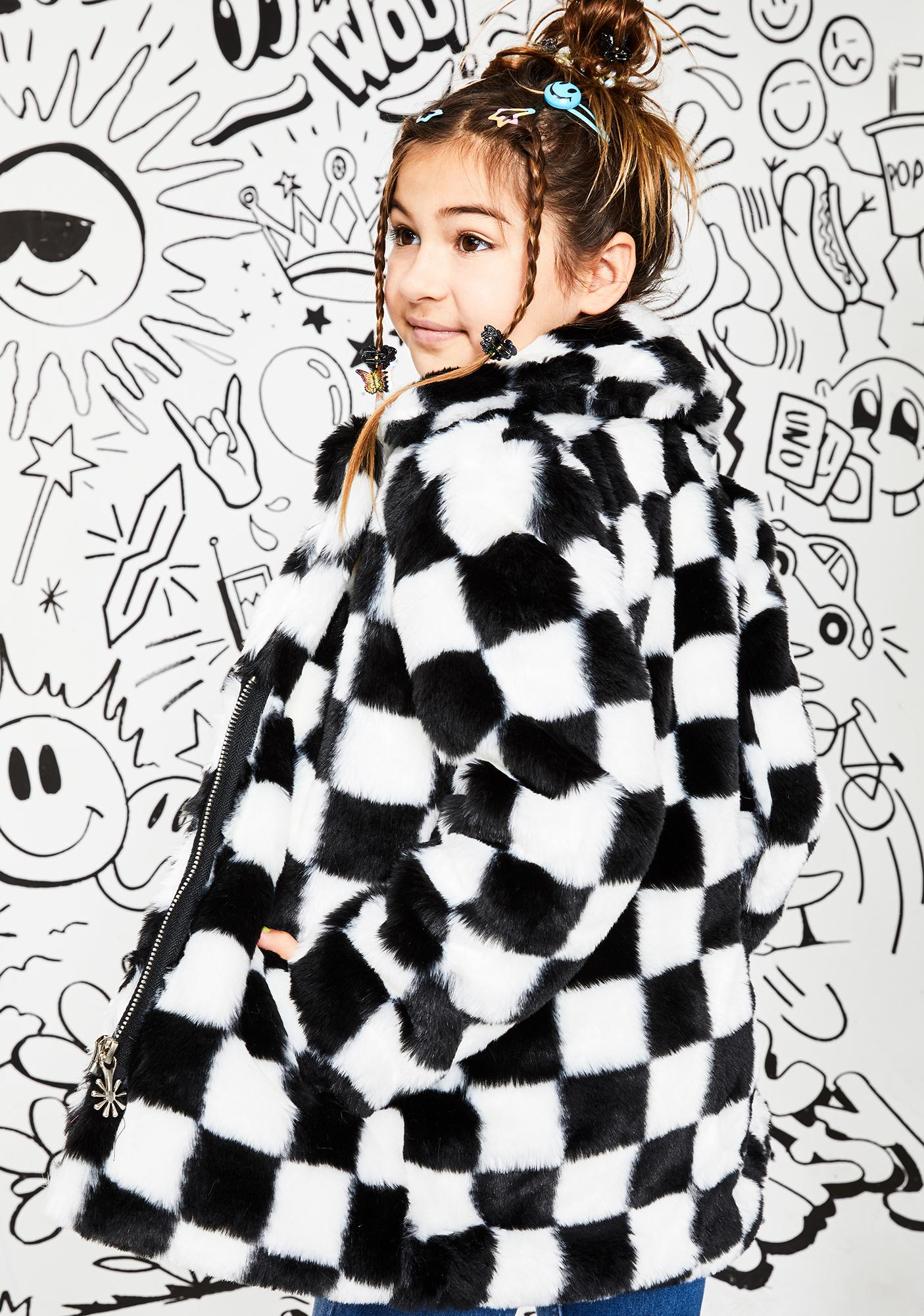 Current Mood Kids Wild Youth Checkered Faux Fur Coat