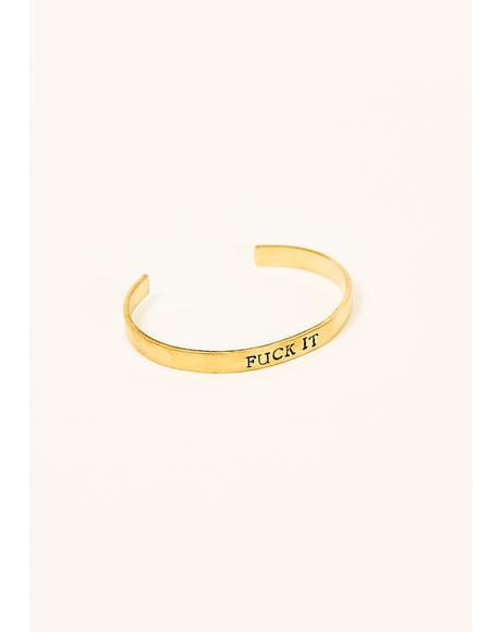 F It Stamped Cuff Bracelet