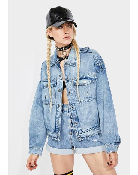Double Shot Rider Oversized Denim Jacket