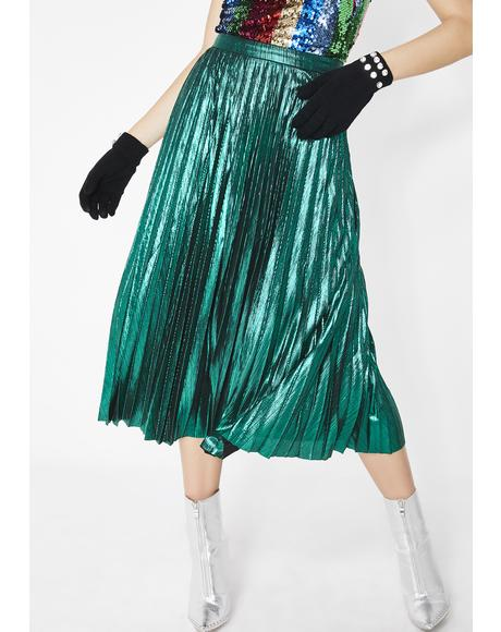 Emerald Tipsy Twirl Metallic Skirt