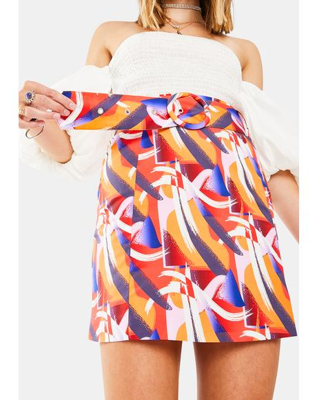 Multi Art Print Skirt
