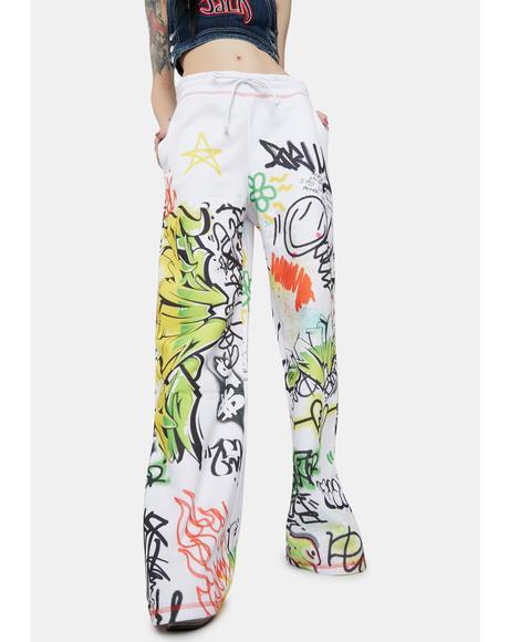 Doodle Graffiti Print Wide Leg Sweatpants