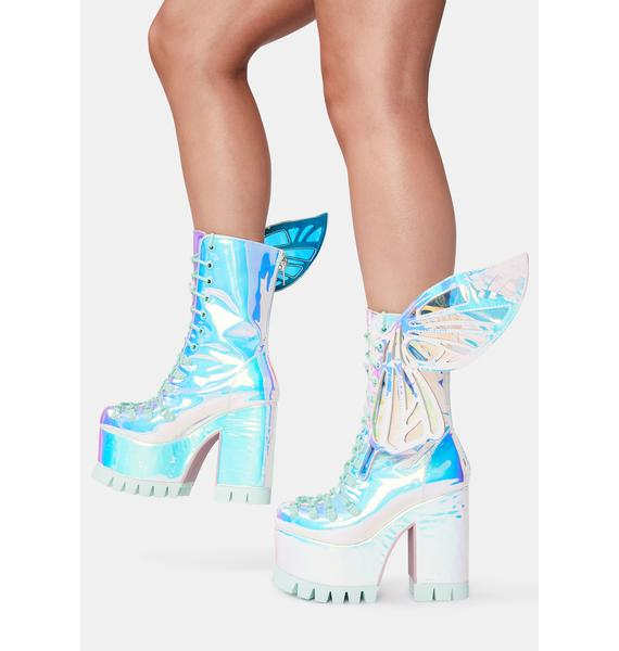 Sugar Thrillz Wings To Fly Holographic Boots