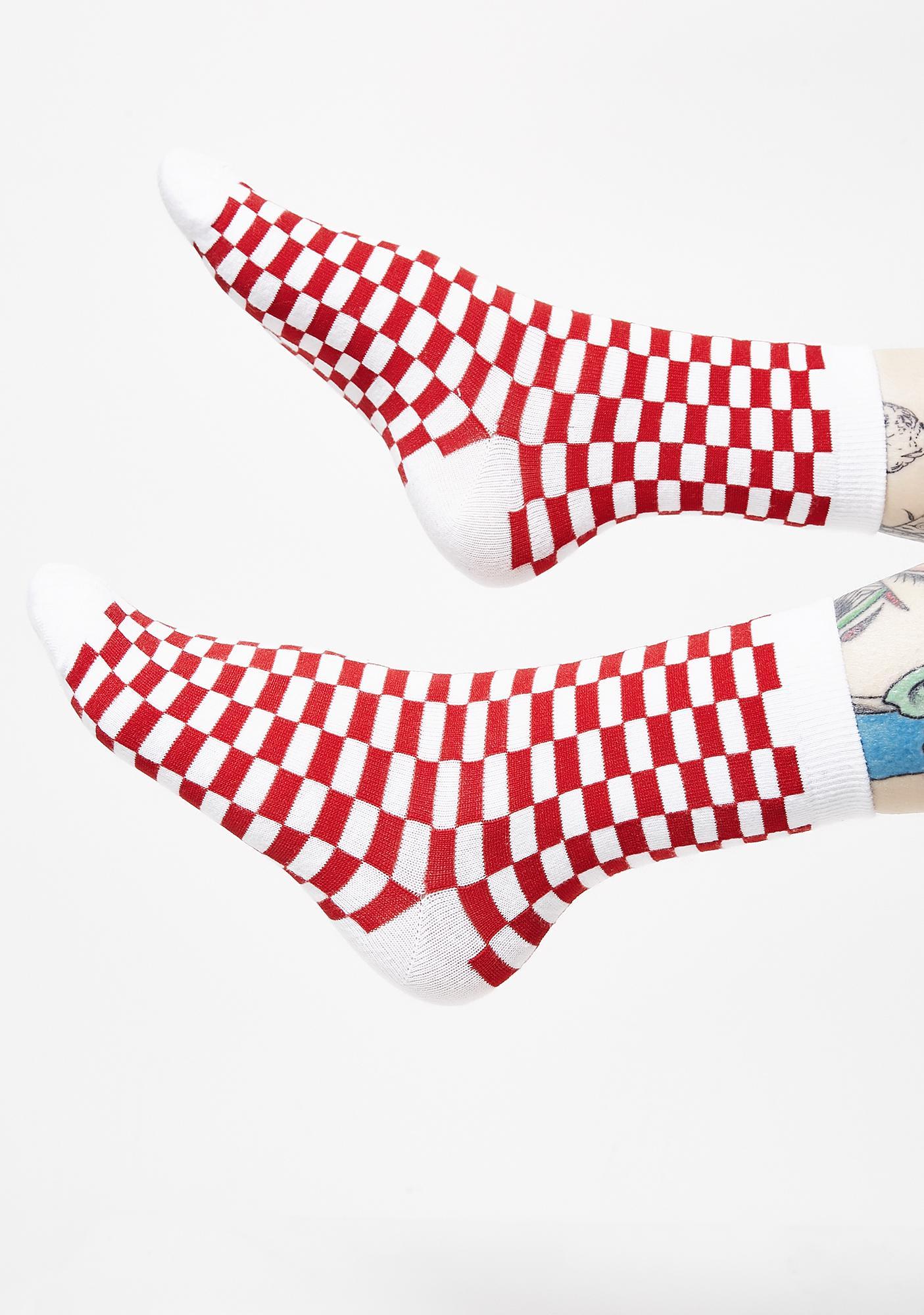 Cherry Check U Out Socks