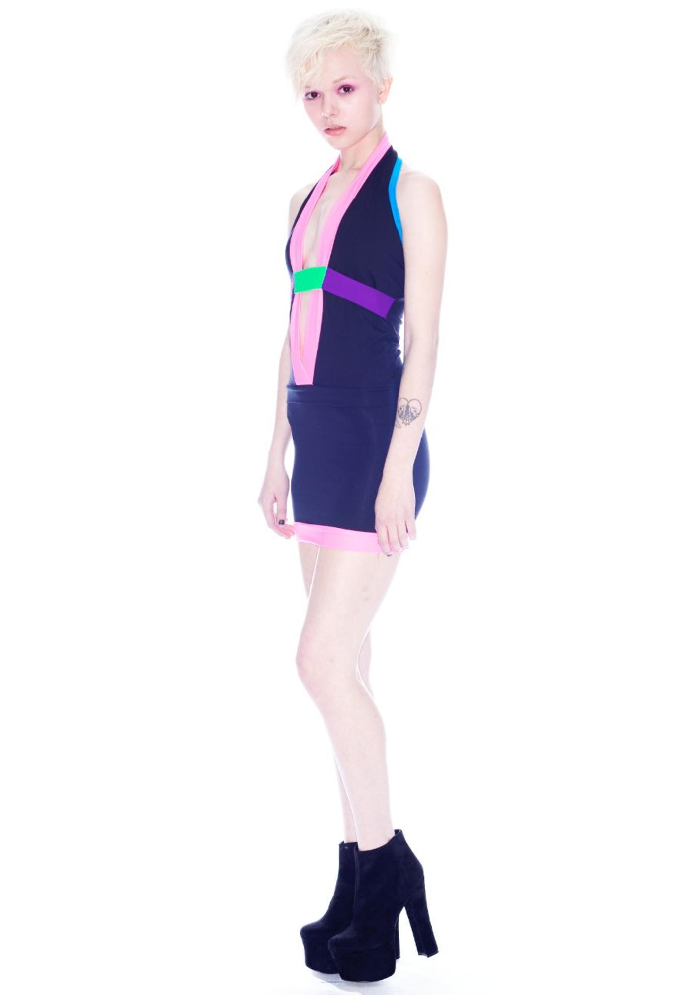 Neon Plunge Halter Dress