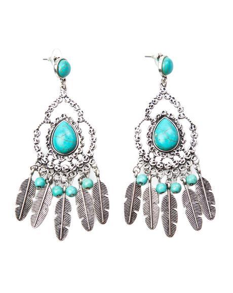 Desert Doll Turquoise Feather Earrings