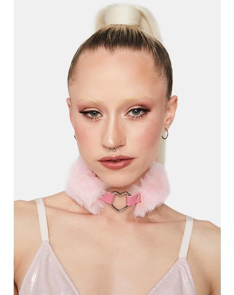 Pink Fluffy Heart Choker