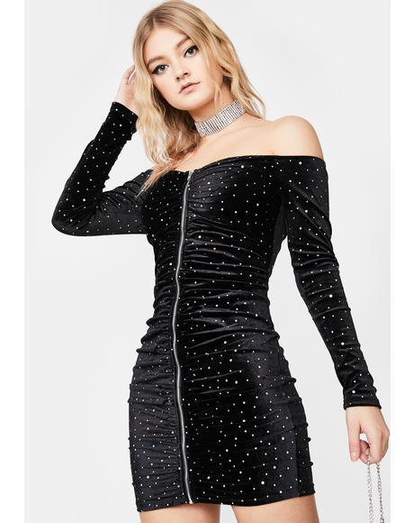 Starry Sky Velvet Dress