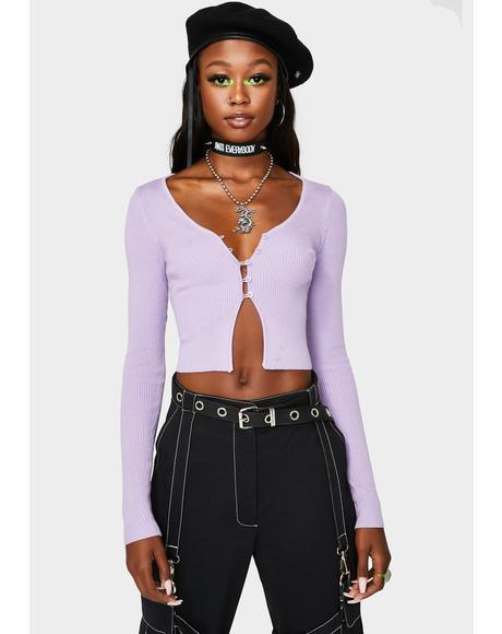 Lavender Never Settle Cropped Cardigan