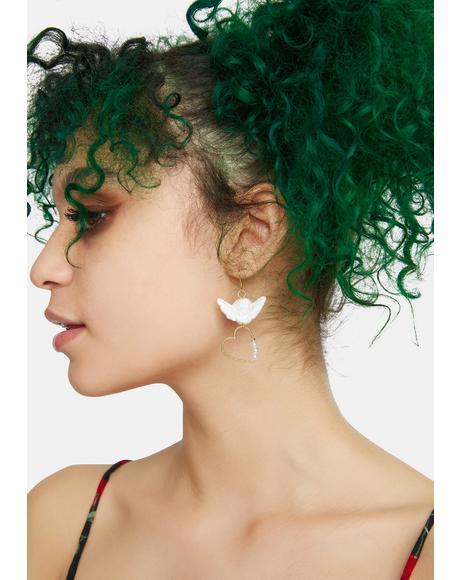 Heavenly Heart Cherub Drop Earrings