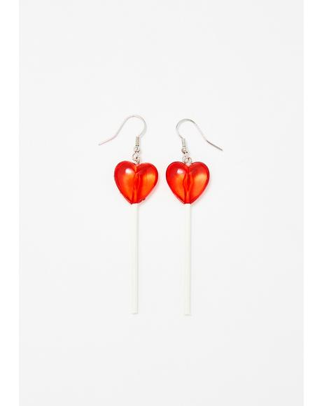 Sweet Heart Lollipop Earrings