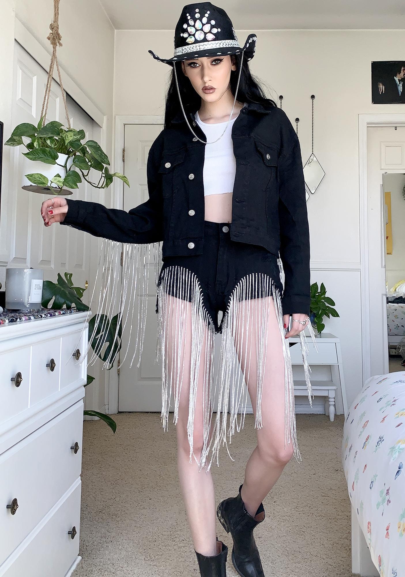 AZALEA WANG Dolly Fringe Denim Shorts