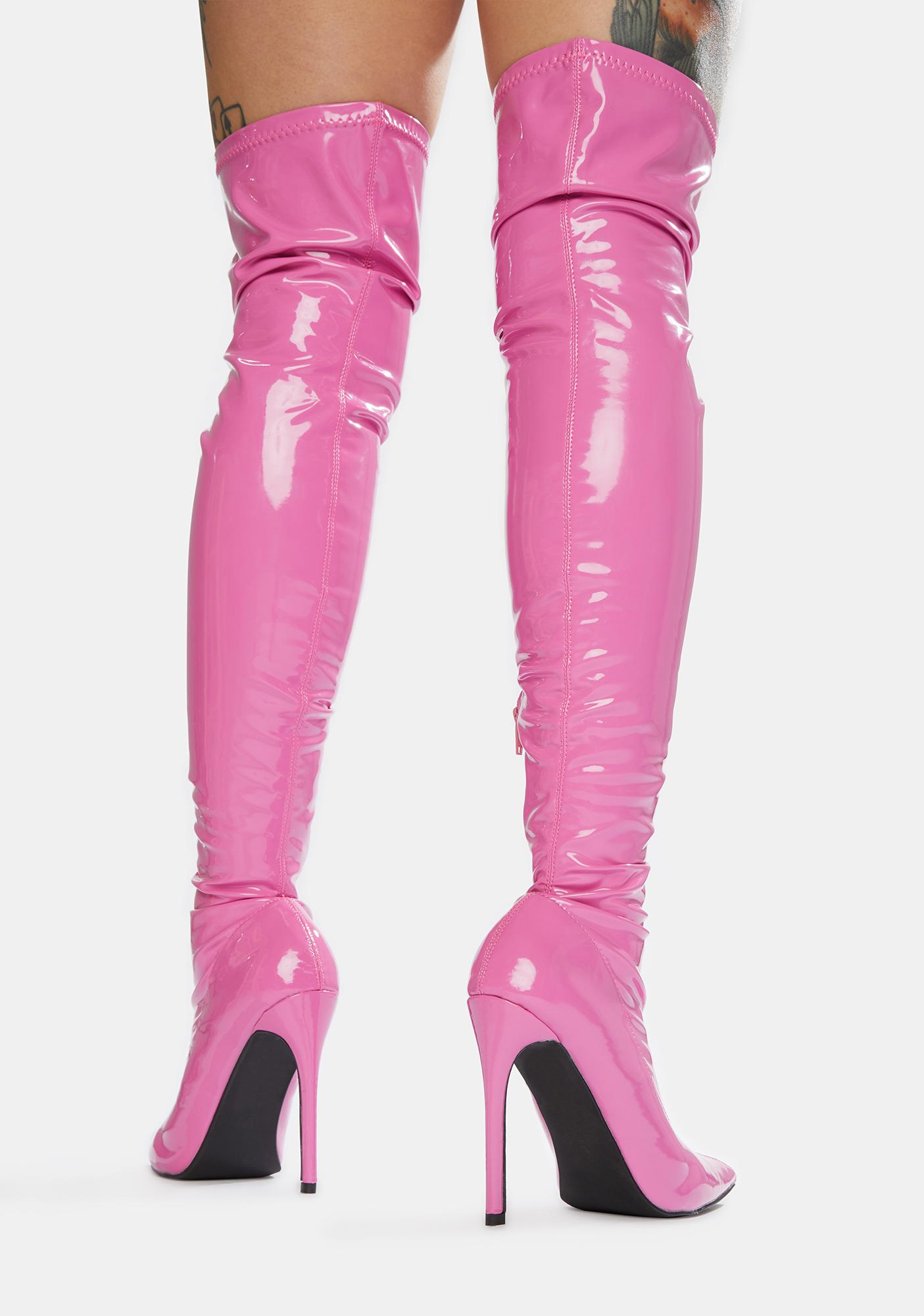 Public Desire Pink Confidence Patent Stiletto Boots