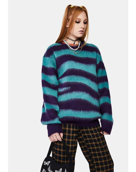 Green Striped Dream Crewneck Sweater
