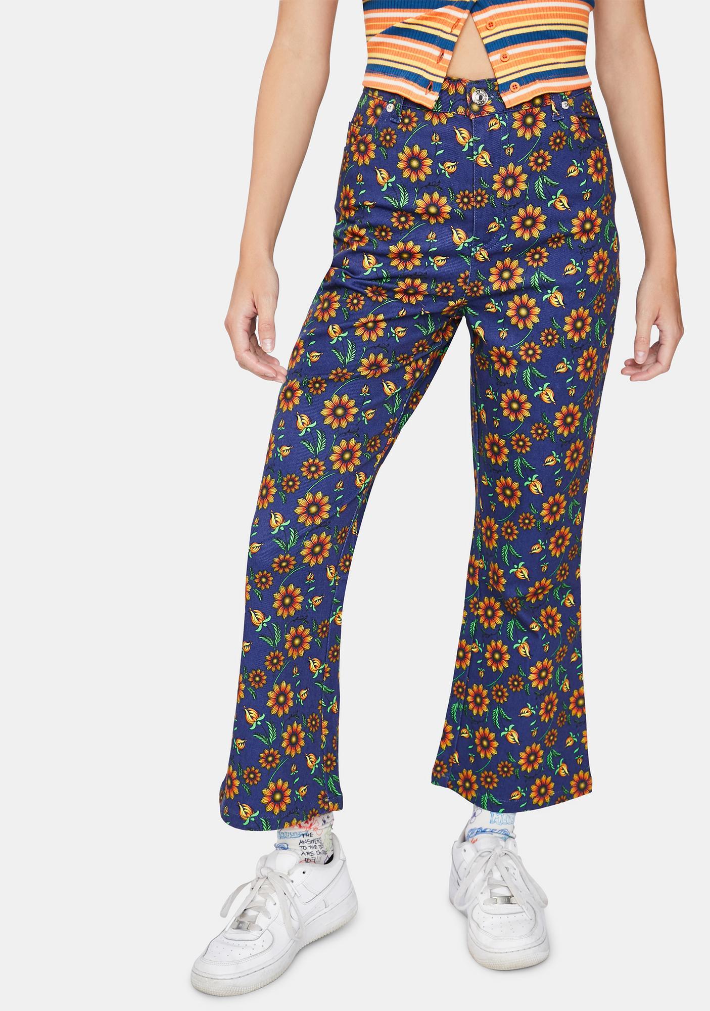 Minga Wild Sunflower Kick Flare Jeans