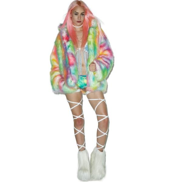 J Valentine Rainbow Flashing Lights Midi Jacket