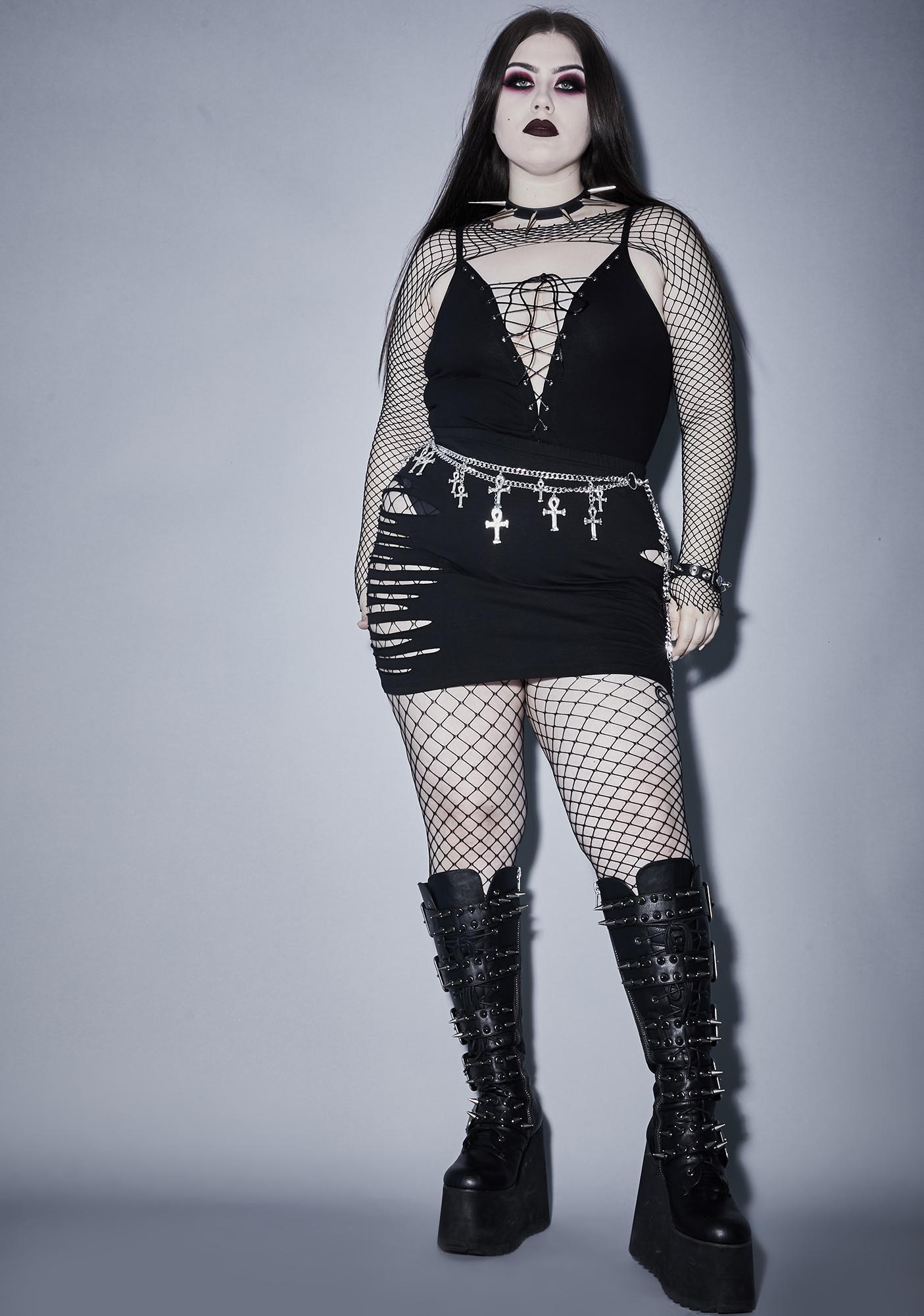 Widow Always Expect The Worst Shredded Skirt